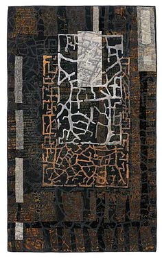 Keystone by Eszter Bornemisza.her work is so earthy and ancient.and love love the pallette Fiber Art Quilts, Textile Fiber Art, Textile Artists, Map Quilt, Quilt Art, Creative Textiles, Contemporary Quilts, Map Art, Fabric Art