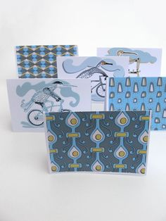 greetings cards/box set/ 6 x cards/ illustrated cards/ hand made cards in a box/blue/gold/coral