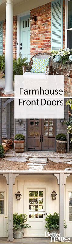 Get country-style curb appeal by adding a farmhouse front door to your home. The color and style of a pretty blue door helps create a rustic feel to this front porch, but the door definitely doesn't have to be old. Here are ideas for using modern doors to create a farmhouse feel.