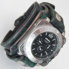 Mens Leather Watch Unique Men Military Watch by loversbracelets