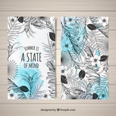 Modern black and white tropical cards Free Vector