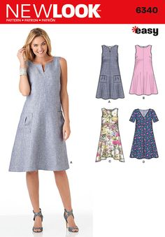 this easy dress pattern featuring trapeze shaped swing dresses can be sleeveless with notched neck and pockets, scoop neck, or scoop neck and shark bite hem. dress can also have v-neck with half sleeves.
