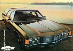1971 Chevrolet Kingswood Estate Station Wagon - the car i drove by myself legally after obtaining my driver license in 1977 Bmw Touring, Station Wagon Cars, Old Wagons, Chevrolet Impala, Chevrolet Caprice, 1957 Chevrolet, Car Brochure, Cars Usa, Car Advertising