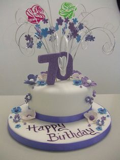 birthday cakes for women 70th Birthday Cake For Women, 90th Birthday Cakes, 70th Birthday Parties, Mum Birthday, Birthday Ideas, Purple Wedding Flowers, Amazing Cakes, Cake Decorating, Special Occasion