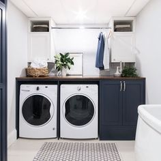 37 Beautiful Small Laundry Room Makeover Ideas - Its one of the most used rooms in the house but it never gets a makeover. What room is it? The laundry room. Almost every home has a laundry room and . White Laundry Rooms, Modern Laundry Rooms, Small Laundry, Laundry In Bathroom, Small Bathroom, Vintage Laundry Rooms, Laundry Area, Laundry Closet, Bathroom Art