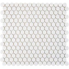 Hudson Penny Round Glossy White 12 in. x 12-5/8 in. x 5 mm Porcelain Mosaic Tile (10.2 sq. ft. / case)