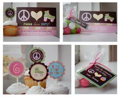 Peace Love Party Hippie Skate Cupcake Skating - Birthday Invitation - SMALL Printable Party Package on Etsy, $25.00
