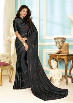 Black Saree, Fancy Fabric Saree, Buy latest Saree with custom stitching and worldwide shipping. Indian Sarees Online, Buy Sarees Online, Crepe Saree, Black Saree, Muslim Dress, Latest Sarees, Bridesmaid Dresses, Wedding Dresses, Party Wear Sarees