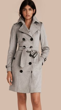Pale grey Sandringham Fit Cashmere Trench Coat Pale Grey - Burberry
