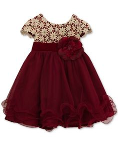 Rare Editions Burgundy & Gold Lace-Overlay A-Line Dress & Diaper Cover - Infant Baby Girl Dresses Fancy, Baby Girl Frocks, Frocks For Girls, Baby Girls, Girls Dresses Sewing, Baby Boy, Girls Frock Design, Baby Dress Design, Kids Dress Wear