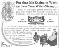 Grinnell GEM Washing Machine 1912 Ad Picture