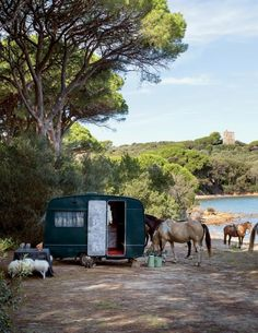 On a secluded beach in Punta Ala, a Fornasetti-outfitted mobile home is parked for good. Secluded Beach, Cole And Son, Old English, Ny Times, Glamping, Tuscany, Tiny House, Small Houses, Abandoned