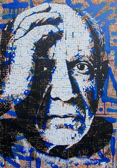 'Pablo Picasso' by Michał Maka Painting on canvas; 70 cm x 100 cm; 2014. See more of M.Maka's art here http://www.studentartworks.org/author/makin/  www.studentartworks.org