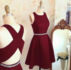 Women's Short A-line Burgundy Satin Beading Homecoming Dress,Sleeveless