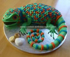 Homemade Lizard Cake: I made this lizard cake for a friend's little boy's 5th birthday. He is very into lizard's at the moment and really wanted a lizard cake. I always make