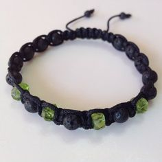 Peridot and Lava Rock Shamballa Bracelet (GESHA-0073) | GemBracelets - Jewelry on ArtFire