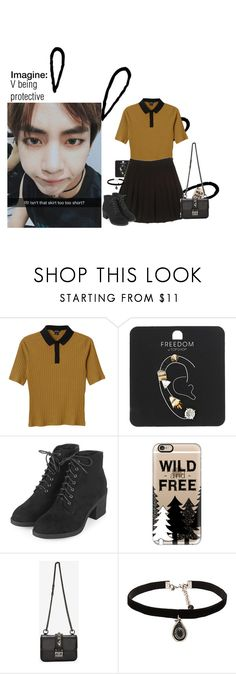 """""""V imagine"""" by ohmyheartu ❤ liked on Polyvore featuring Old Navy, Monki, Topshop, Casetify, Valentino, Natalie B, outfit, imagine, bts and taehyung"""