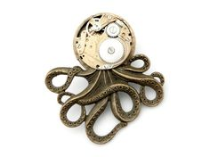 Mechanical Octopus Brooch Pin   The Brainiacs Antique by SteamSect