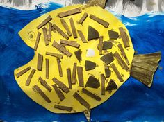 Painted and collaged fish. Primary School, Students, Fish, Sea, Artwork, Painting, Work Of Art, Auguste Rodin Artwork, Painting Art
