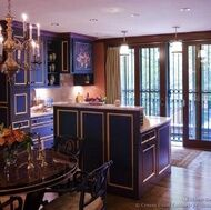 Victorian kitchen done in blue. This is so sexy and chic, I really love this!