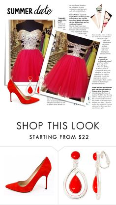 """Charming Homecoming Dress Sequined Homecoming Dress Short Homecoming Dress Cocktail Dress"" by olesadress ❤ liked on Polyvore featuring Manolo Blahnik and Liz Claiborne"