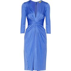 IssaSilk-jersey dress (14.540 RUB) ❤ liked on Polyvore featuring dresses, blue, jersey dress, blue ruched dress, shirred dress, blue jersey dress and blue fitted dress