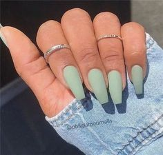 10 Popular Spring Nail Colors for 2020 10 Popular Spring Nail Colors for Inspiration. Spring Nail Colors for 2020 // Light green Matte Acrylic Nails, Acrylic Nails Coffin Short, Simple Acrylic Nails, Square Acrylic Nails, Acrylic Nail Designs, Matte Green Nails, Simple Nails, Acrylic Nails For Fall, Matte Almond Nails