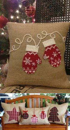 Sewing Crafts Pillows Fun Ideas For 2019 Christmas Cushions, Christmas Pillow, Christmas Sewing Projects, Holiday Crafts, Noel Christmas, Christmas Ornaments, Diy Throw Pillows, Decorative Pillows, Christmas Applique