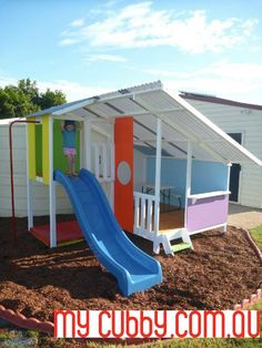 Looking For The Coolest Cubby Houses in Australia? Check Out Our DIY Kit Cubby Houses and Kids Forts. Kids Outdoor Play, Outdoor Play Areas, Kids Play Area, Backyard For Kids, Backyard Projects, Outdoor Fun, Cubby House Kits, Kids Cubby Houses, Kids Cubbies