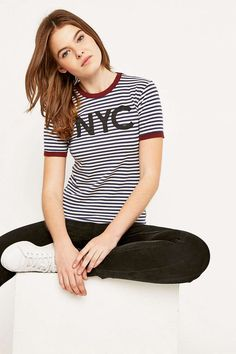 Truly Madly Deeply NYC Striped Ringer T-shirt