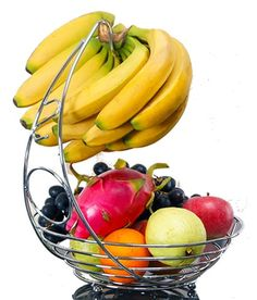 Fruit Basket With Banana Holder http://zapbest2.myshopify.com/collections/beautybuddys/products/fruit-basket-with-banana-holder Unique Hook - Bowl is great for storing apples, oranges while unique hook lets you hang and prevent bruises on bananas and grapes! Won't Scratch Countertops, Free Yoga Video Bonus