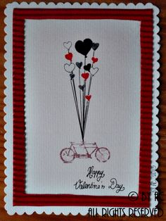 White and red bike Valentines card