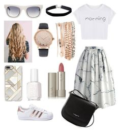 """""""How to wear a marble inspired outfit"""" by alshaikh-hamda on Polyvore featuring Chicwish, WithChic, Westward Leaning, Casetify, Essie, Jessica Carlyle, adidas, Lancaster, Ilia and Miss Selfridge"""