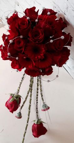 Win & Jim flowers # red rose wedding bouquet