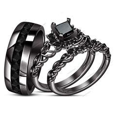 1.10 Carat Brilliant Princess Genuine Diamond Unisex Trio Ring Set in 925 Silver #aonedesigns #EngagementWeddingAnniversaryPromiseValentines