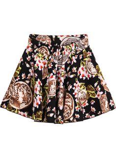 Black Floral Coins Print Skirt - Sheinside.com