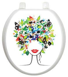 Whimiscal Spring Lady Toilet Seat Decal