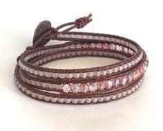 Pink Wrap Bracelet Beaded Leather Wrap Pink Triple Wrap