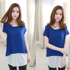 CC367# 2013 Blouses For Women Patchwork T-shirt Fashion Metal Rivets Decorative Chiffon Blouse