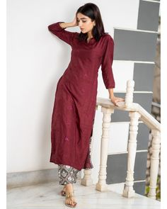 Maroon embroidered kurta with patola pants - set of two by the weave story the secret label. Simple Kurta Designs, Silk Kurti Designs, Kurta Designs Women, Kurti Designs Party Wear, Salwar Designs, Blouse Designs, Dress Indian Style, Indian Outfits, Indian Wear