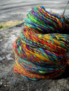 Rainbows and Unicorns Handspun Single Yarn Merino by Hamncheezr