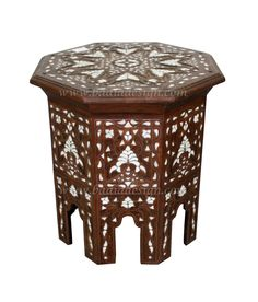 White Mother of Pearl Inlay Side Table Imported from Morocco - MOP-ST041, http://www.badiadesign.com/white-mother-of-pearl-side-table-mop-st041
