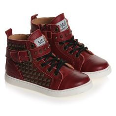 Dark Red Leather Trainers with Studs - Shoes |