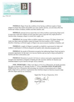 BREMERTON, WA-Mayoral proclamation recognizing Diaper Need Awareness Week (Sep. 26-Oct. 2, 2016) #DiaperNeed Diaperneed.org