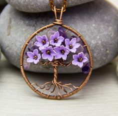 Tree-Of-Life Necklace Pendant Copper Wire Wrapped Pendant Brown Wired Copper Jewelry Wire Wrapped ModernTree  Amethyst Necklace Rustic