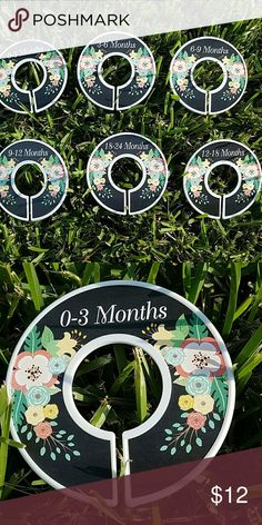 Closet dividers baby girl. Only sold as part of a bundle. Never used. Design is on both sides of each divider. Black background with floral colors of mint green, coral, yellow.  Ultrasound  was wrong! Blessed with a perfect baby BOY:) Smoke-free home. Other