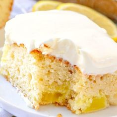 Easy Lemon Dream Cake starts with a boxed cake mix swirled with lemon pie filling/lemon creme filling. All topped with a creamy, lemony whipped topping! Lemon Desserts, Lemon Recipes, Köstliche Desserts, Delicious Desserts, Dessert Recipes, Breakfast Recipes, Lemon Dream Cake, Cake Mix Ingredients, Lemon Cake Mixes