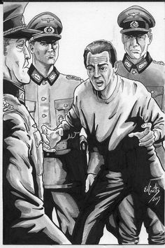 """Interior illustration for """"Glass Transit"""", showing Eddie being questioned by the Luftwaffe aboard the Hindenburg. Eddie's sweating bullets, but he rather likes the image. He's showing a lot more hair than he sports in real life. (Art by Edd Coutts. Edd, Luftwaffe, Bullets, Real Life, Two By Two, This Or That Questions, Glass, Interior, Illustration"""