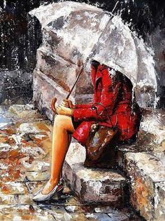 Rain girl picture DIY oil painting by numbers on canvas calligraphy decorative canvas painting by number brush drawing