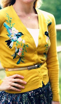 Mustard yellow cardigan with embroidered bird, dragonflies and flowers/leaves. Embroider a cardigan
